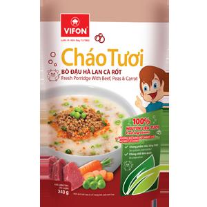 Cháo tươi thịt bò đậu Hà Lan cà rốt 240g (không bổ sung bột ngọt)