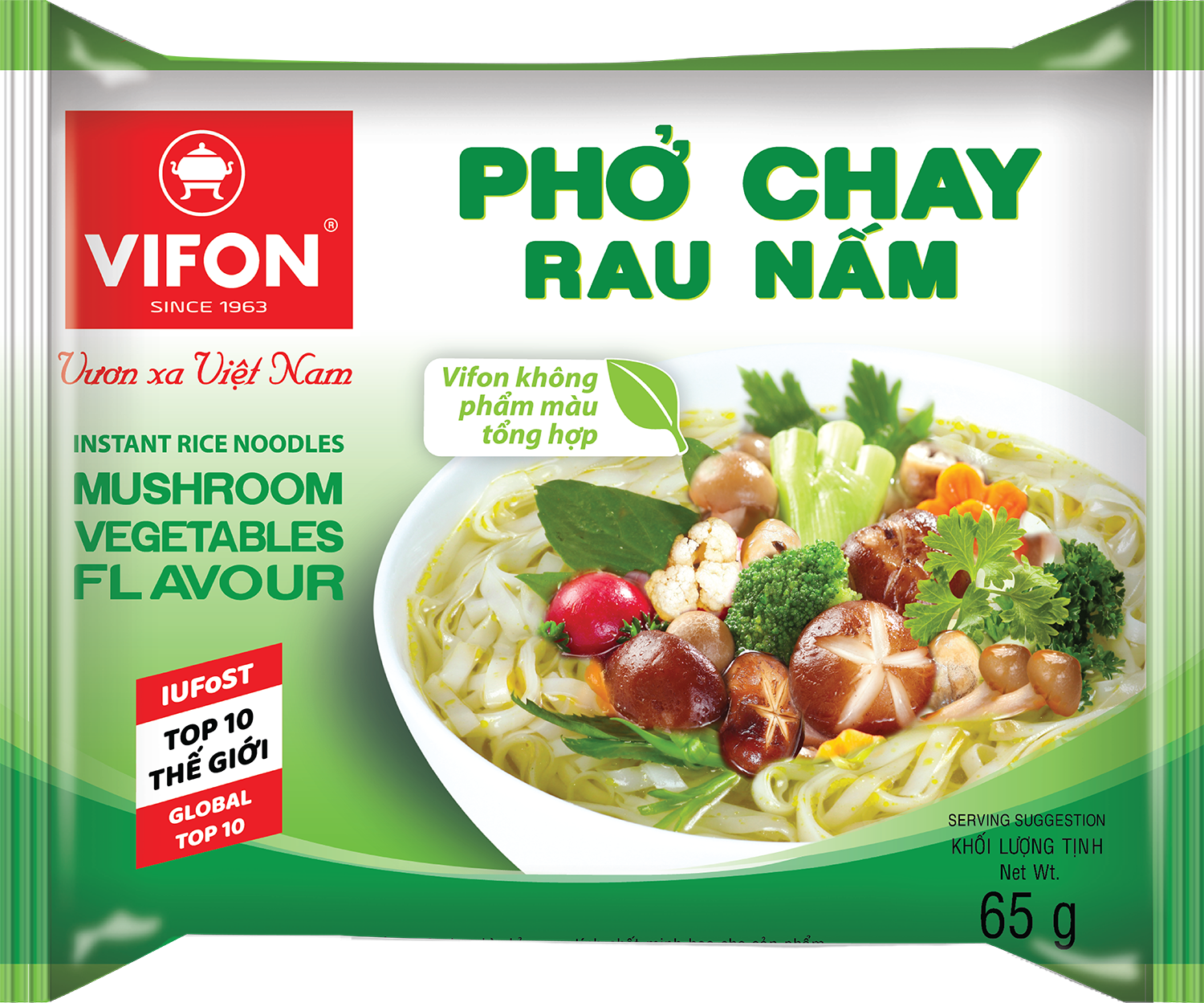 Vegetarian Style Instant Rice Noodles Mushroom Vegetable Flavor 65g