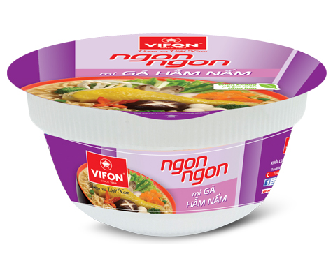 Ngon Ngon Instant Noodles With Stewed Chicken And Mushroom In Bowl 71g