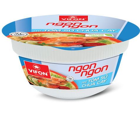 Ngon Ngon Instant Noodles With Hot Sour Prawn In Bowl 71g